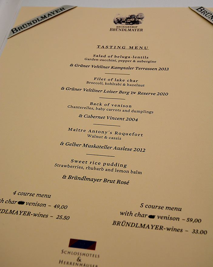 Bründlmayer menu